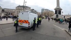 """London police use megaphones to warn the public to """"disperse and comply"""" in line with COVID-19 laws."""