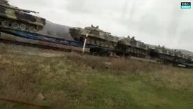 More footage of Russian Military vehicles heading towards the Ukrainian border as tension flare up