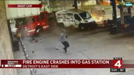 Fire truck crashes into gas station in Detroit