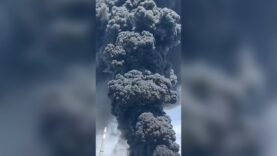 A massive fire broke out after an explosion in a