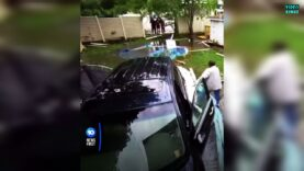Distracted driver completely annhilates swimming pool in back yard.
