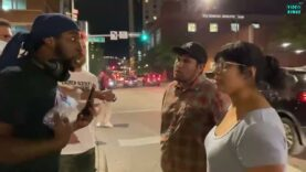 Dozens of antifa activists gathered outside the Hyatt Regency in