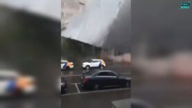 Video footage of the moment the roof of a building