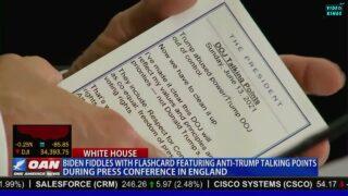 WATCH: Joe Biden filmed holding flashcards to remind him that