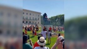 Angry Protesters in Winnipeg torn down the Queen Victoria statue