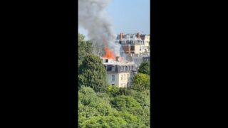 Fire erupts at Embassy of Italy in Paris, France near
