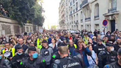 French Police Officers joined protesters marching against Macron's plan to