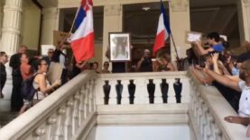 Health Pass protesters take-down Macron Painting after breaking into town