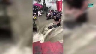 Insane video from China as parts of the country flooded
