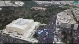 Thrilling aerial view footage of major protest in Athens, Greece