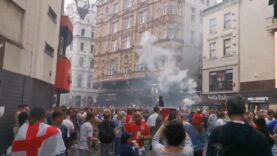 Thrilling scenes from London as huge crowds of England Fans